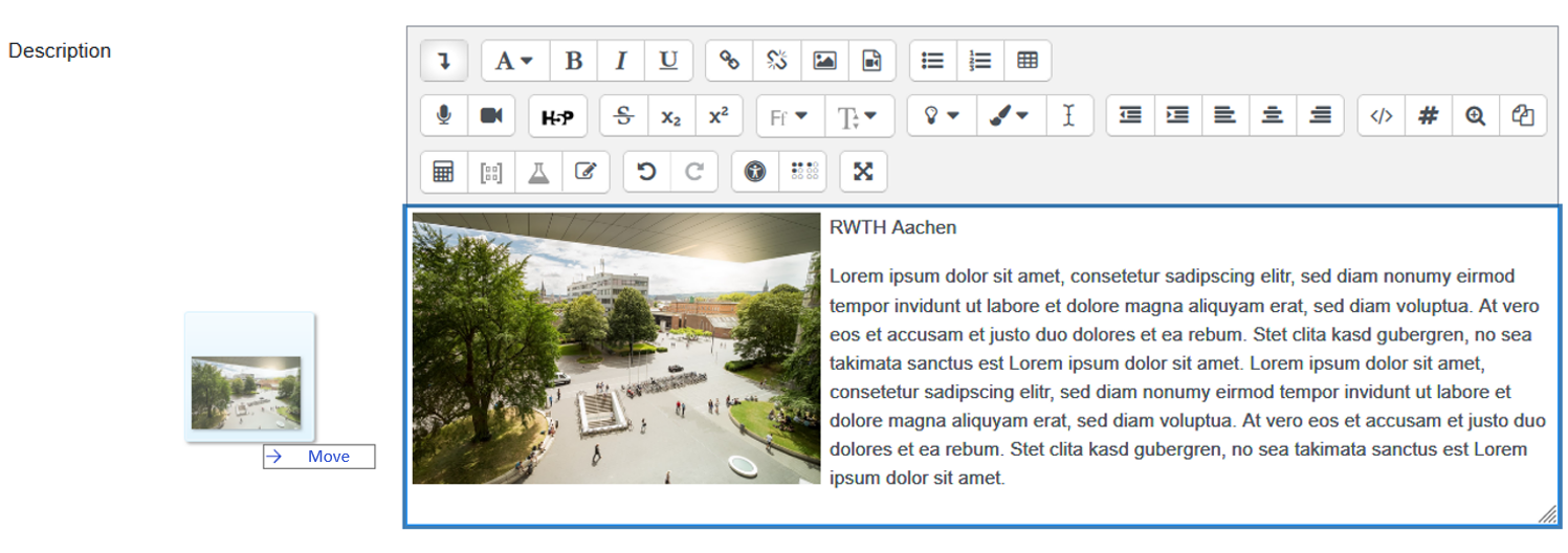 Screenshot Atto editor with image drag and drop