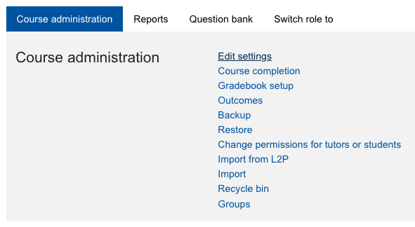 Screenshot course administration with link Edit settings