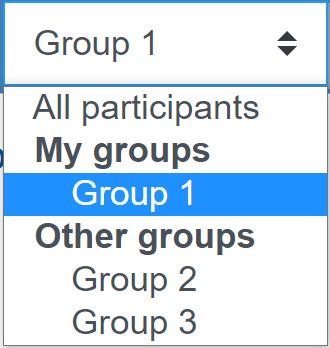 Screenshot dropdown list for group choice
