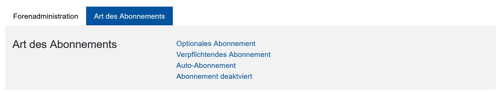Screenshot Auswahl der Abo-Typen