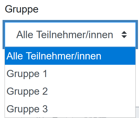 Screenshot Gruppenauswahl
