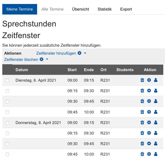 """Screenshot Übersicht im Reiter """"Meine Termine"""""""