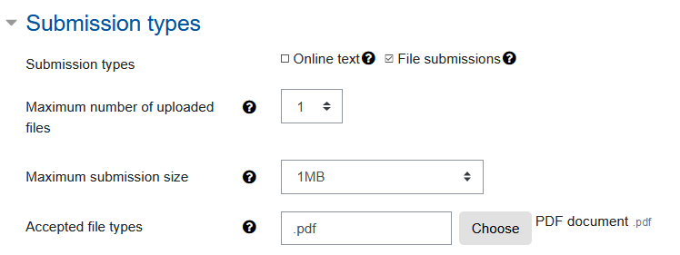 Screenshot Exam review with dummy submission and submission types