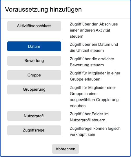 Screenshot Abstimmungs-Einstellungen, Kategorie Voraussetzung, Typ Datum