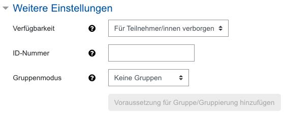 Screenshot Abstimmungs-Einstellungen, Kategorie Weitere Einstellungen