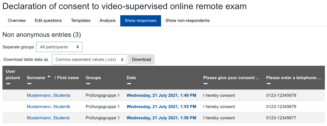 Screenshot of entries in feedback