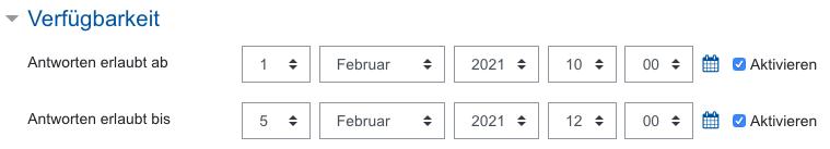 Screenshot Feedback-Einstellungen, Kategorie Verfügbarkeit