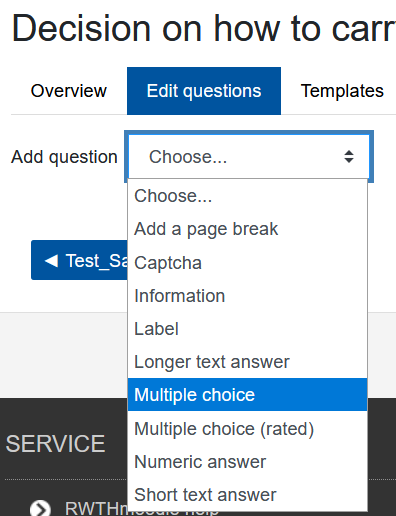Screenshot, Fragetyp MC auswählen