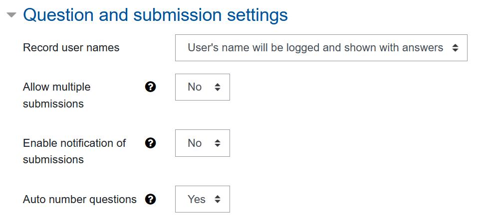 Screenshot Feedback-Einstellungen, Kategorie Frage und Einträge
