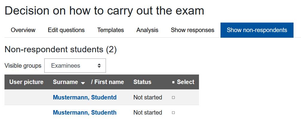 Screenshot Liste ohne Antwort