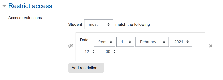 Screenshot Abstimmungs-Einstellungen, Kategorie Voraussetzung, Datum anlegen