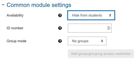 Screenshot Assignment settings, category Common module settings