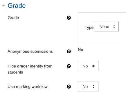 Screenshot Assignment settings, category Grade