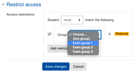 Restrict access to exam groups
