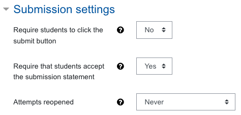 Screenshot assigment settings, submission settings