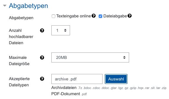 Screenshot Aufgabeneinstellungen, Kategorie Abgabetypen