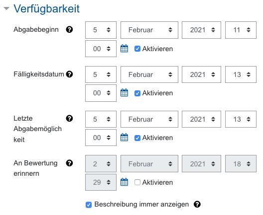 Screenshot Aufgabeneinstellungen, Kategorie Verfügbarkeit