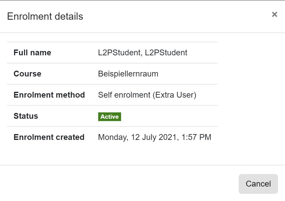 Screenshot Enrolment details from a student