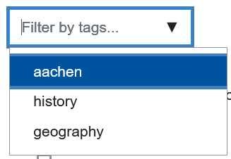 Screenshot filterquestions by tags