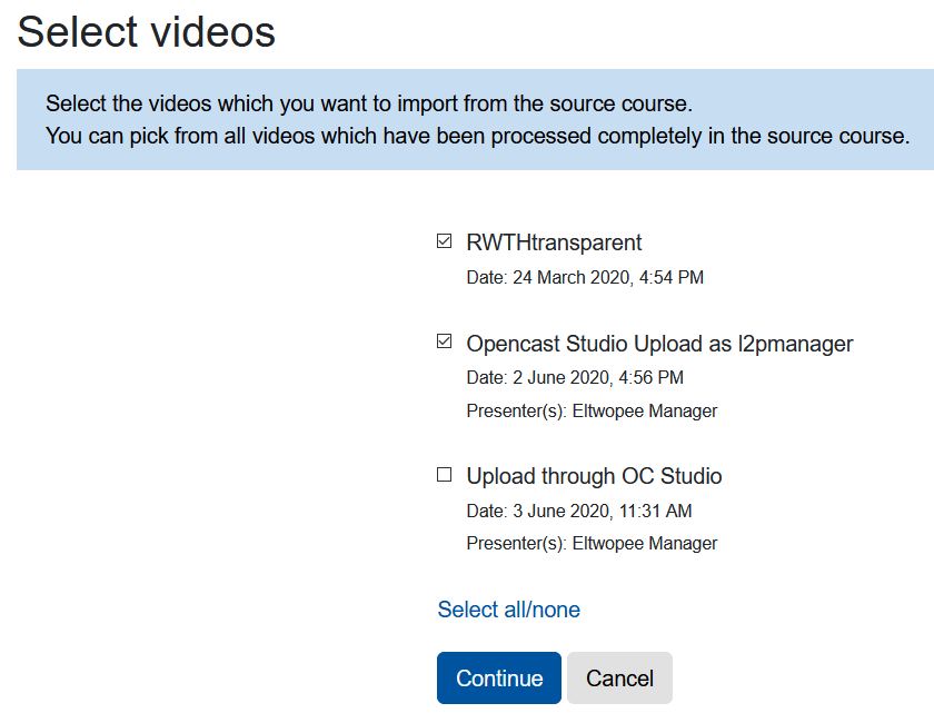 Screenshot select videos for import