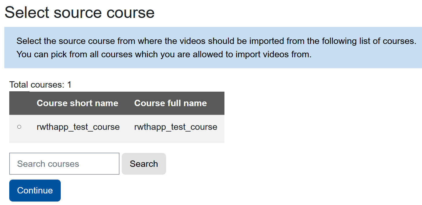 Screenshot selecting a source course