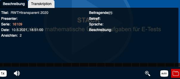 Screenshot of the metadata