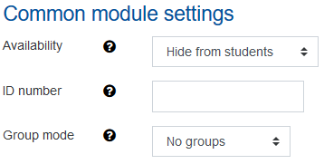 Screenshot Availability options for students
