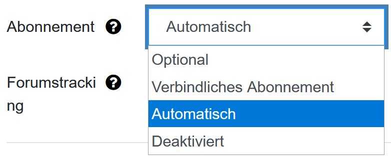 Screenshot Einstellungen zum Abonnement