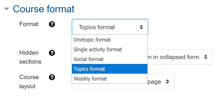 """The picture shows the RWTHmoodle setting """"Course format"""""""