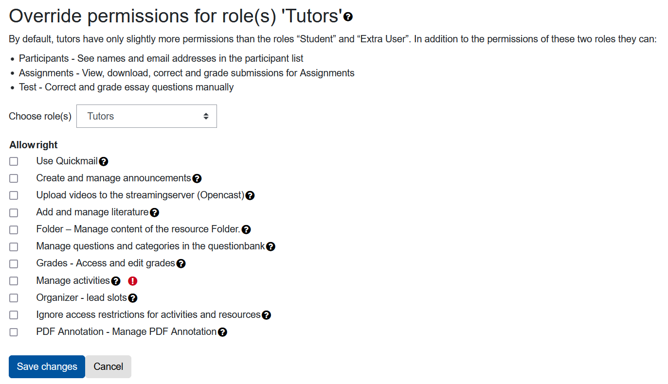 Screenshot of the page on which the permissons for tutors can be changed