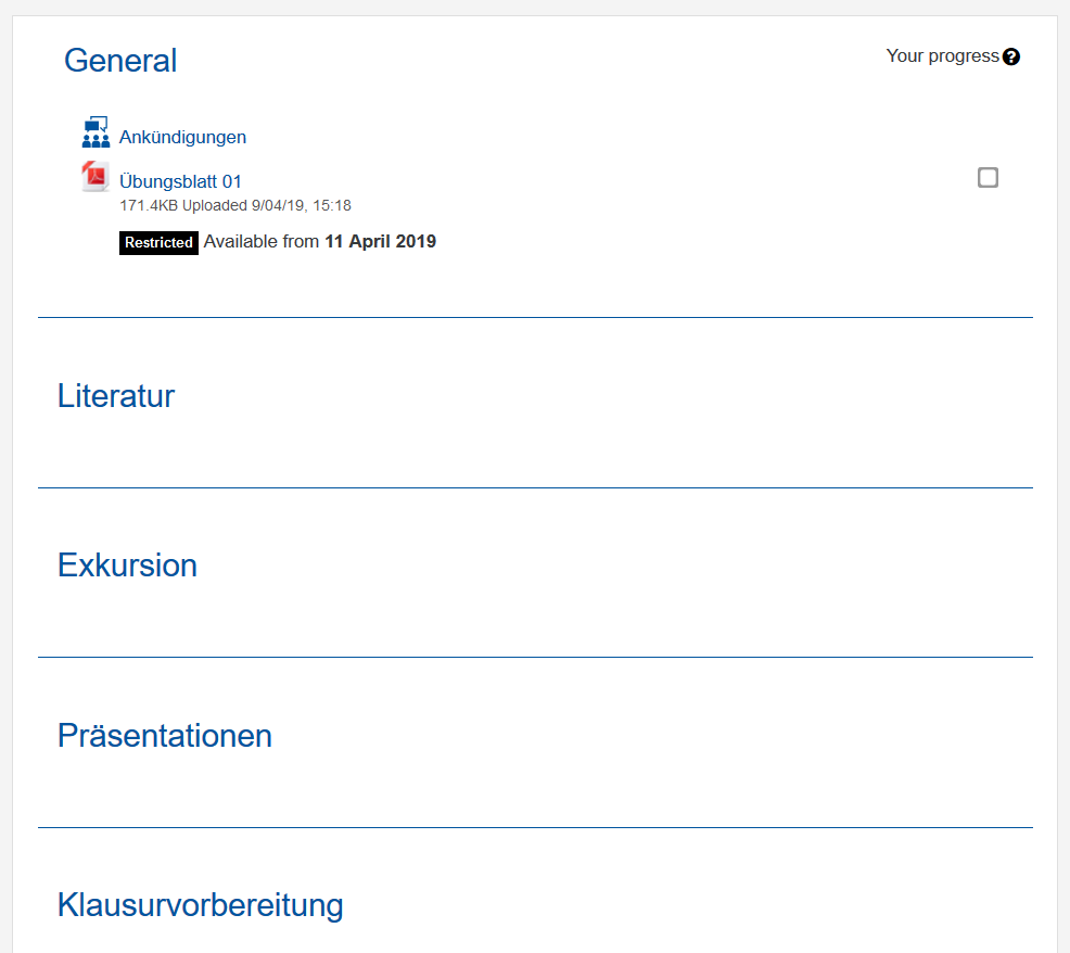 """The picture shows the RWTHmoodle setting """"Topic format"""""""