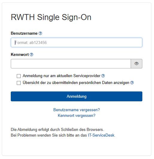 Das Bild zeigt die RWTH Single Sign-On Anmeldemaske