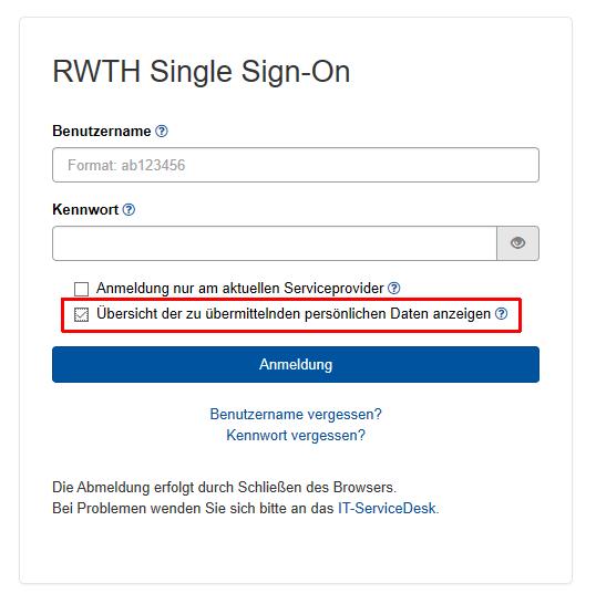 Das Bild zeigt die Anmeldung über RWTH Single Sign-On