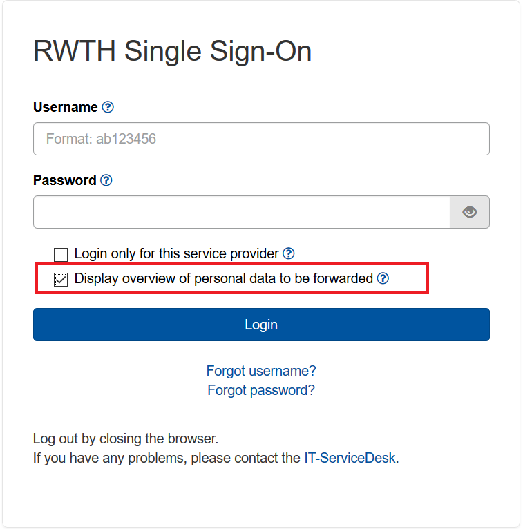 The picture shows the RWTH Single Sign-On mask