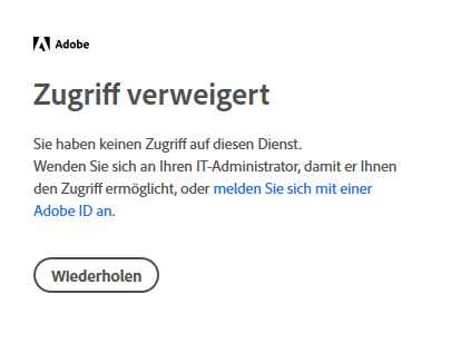 The picture shows an error message in Adobe