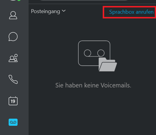 """Das Bild zeigt die Option """"Sprachbox anrufen"""""""