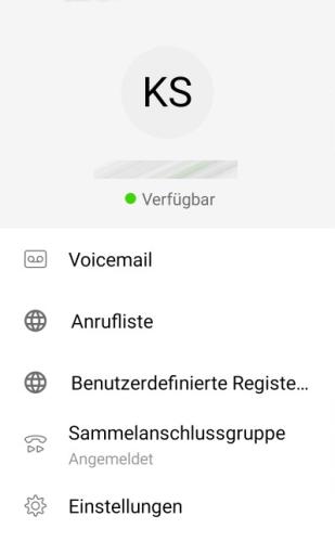 Das Bild zeigt das Jabber Menü auf Android