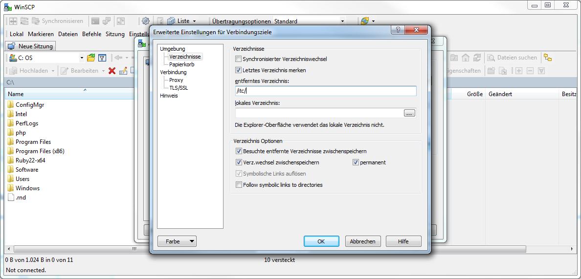 WinSCP Einstellungen 2