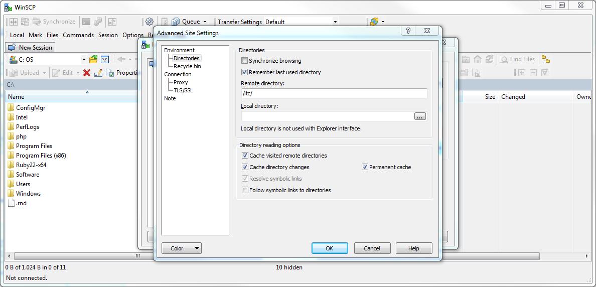 WinSCP Settings Webspace path
