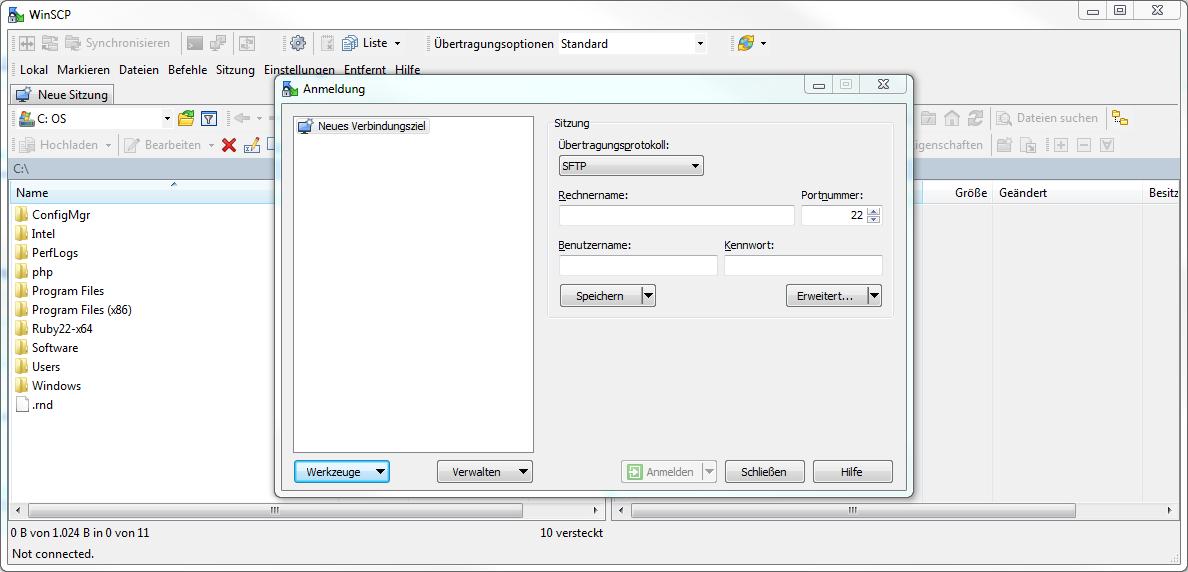 WinSCP Start