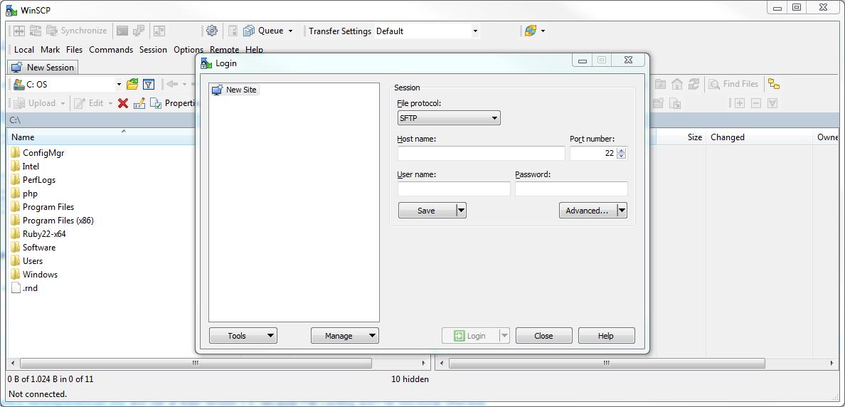 WinSCP open settings