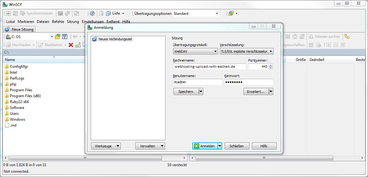 Das Bild zeigt WinSCP Einstellungen