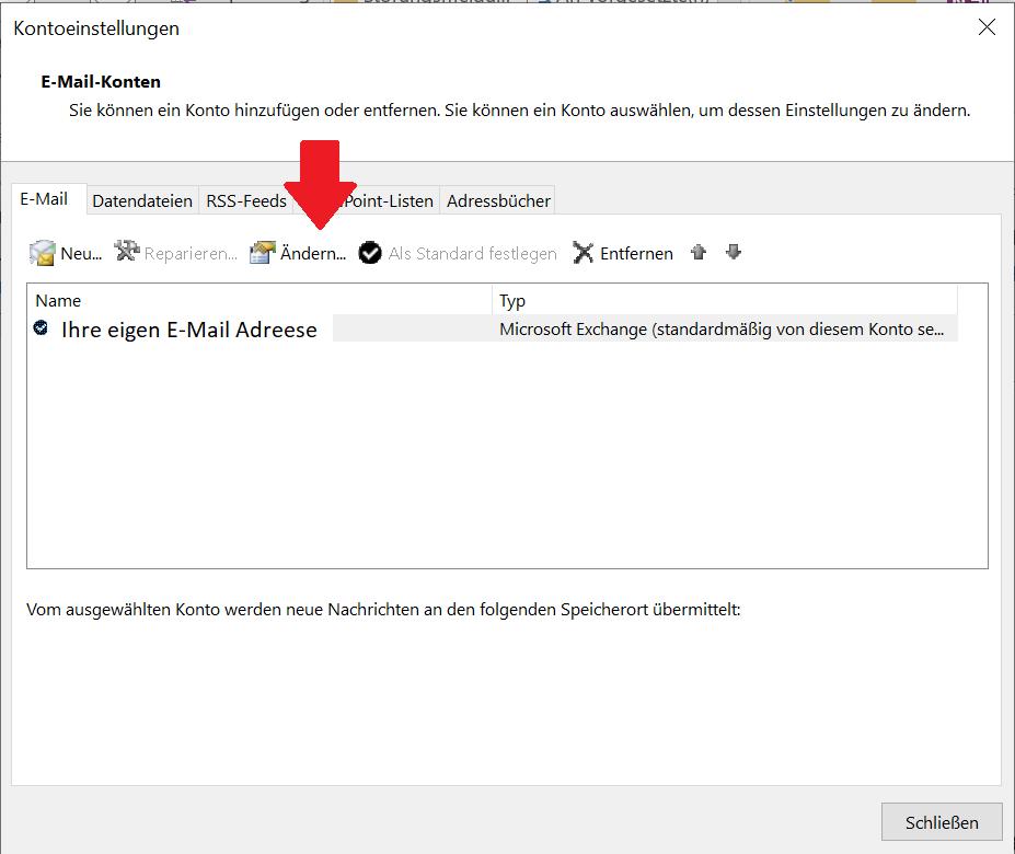 Dieses Bild zeigt wo Sie die E-Mail Adresse ändern können