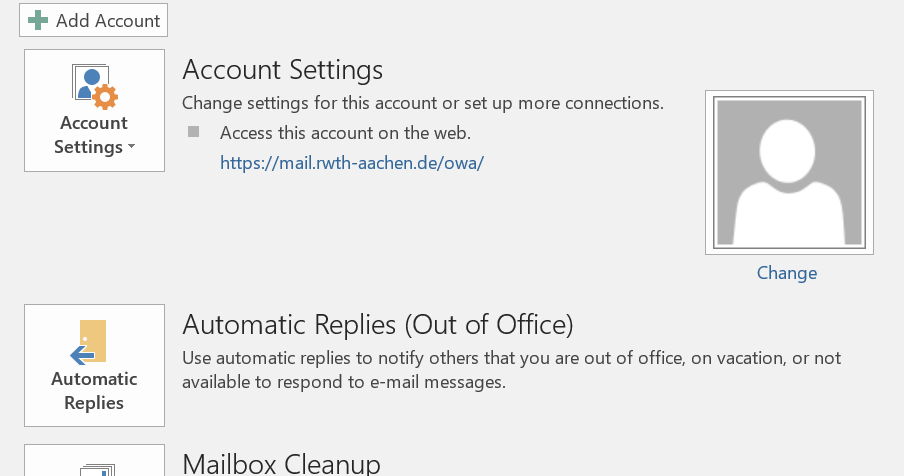 This picture shows the account settings