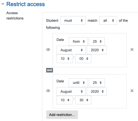 """Screenshot of the settings for """"Restrict access"""" in an activity """"Assignment"""""""