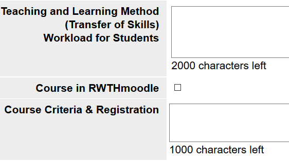 Choice in RWTHonline to create a course room in RWTHmoodle
