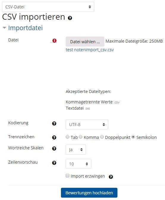 Screenshot Uploadfeld und Einstellungsoptionen