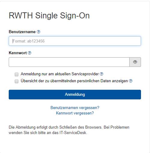 Das Bild zeigt den RWTH Single Sign-On Login