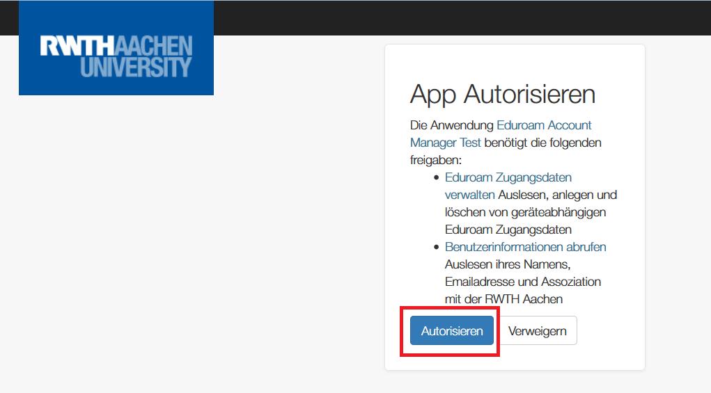 eduroam Gerätemanager 5 App Autorisieren