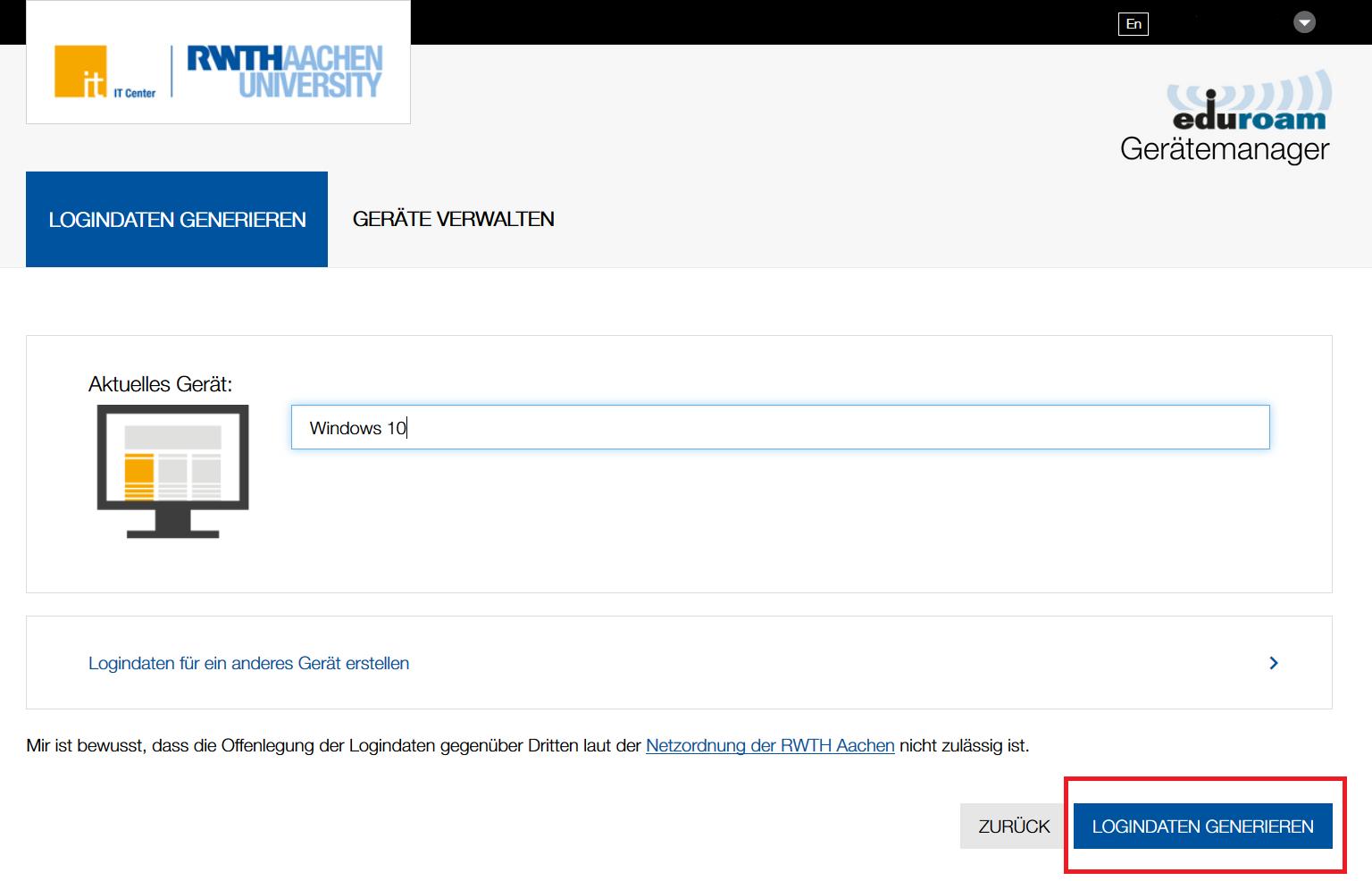 eduroam Gerätemanager 8 Logindaten generieren: